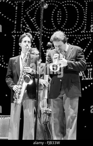 Warren Vache and Scott Hamilton at the Kool Jazz Festival in Stanhope, New Jersey, June 1982. - Stock Photo