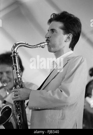 Warren Vache and Scott Hamilton at the Kool Jazz Festival in Stanhope, New Jersey, June 1982. - Stock Photo