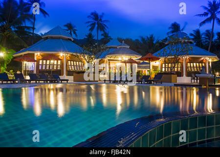 The swimming pool at the Pariya resort on Haad Yuan, Ko Pha Ngan, Thailand - Stock Photo