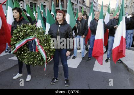 Milan demonstration of far-right groups in the anniversary of two killed in 1975 - Stock Photo