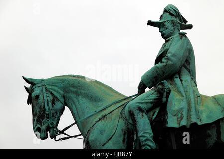 Statue of Danish King Christian IX, Aalborg, North Jutland, Denmark, Scandinavia - Stock Photo