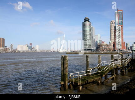 Skyline of Rotterdam, Netherlands. Erasmus bridge, World Port Center, Hotel New York, Montevideo tower on Kop van - Stock Photo