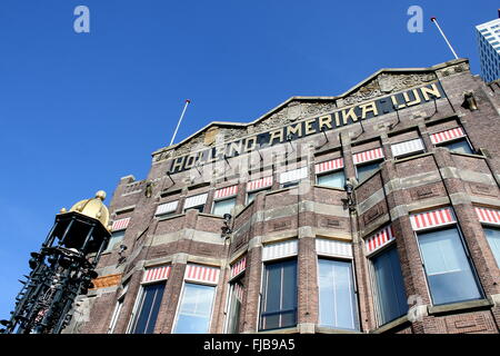 Façade of Hotel New York in Rotterdam, Netherlands. Former offices of Holland America Line. Art Nouveau style, dating - Stock Photo