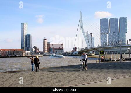 Erasmus bridge, Rotterdam, flanked by Maastoren, highest Dutch skyscraper (165m) & De Rotterdam complex (2013, Rem - Stock Photo