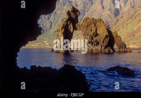 The stone arch Roque de la Bonanza, El Hierro, Canary Island, Spain, Europe - Stock Photo