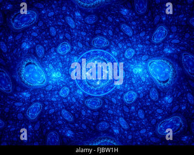 Blue glowing cells, computer generated abstract background - Stock Photo
