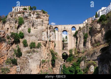 Puente Nuevo Bridge over the gorge of the Rio Guadalevin, Ronda, Andalucía, Spain - Stock Photo