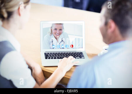 Composite image of portrait of a pretty nurse - Stock Photo