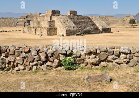 Edificio J, archaeological site of Monte Alban in Oaxaca, Oaxaca, Mexico - Stock Photo