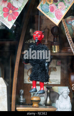 Devil marionette in the Scriptum shop window, Turl Street, Oxford, England - Stock Photo