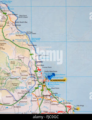 Road map of the east coast of England showing Filey and with a