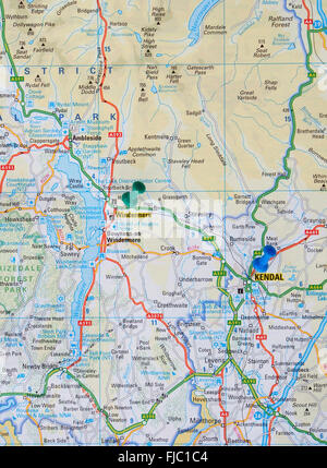 Road map of the Lake District showing Lake Windermere with a map