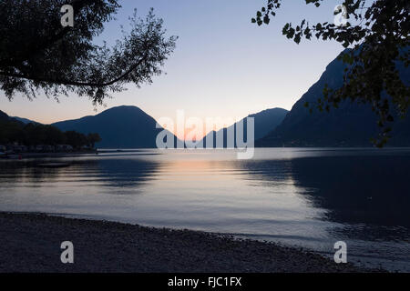 Lake Lugano,  Porlezza, evening light, Lombardy, Italy - Stock Photo