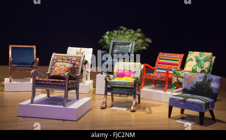 London, UK. 29 February 2016. Sitting Pretty - Fundraising Chair Auction at Bonhams. Hand-painted and upholstered - Stock Photo