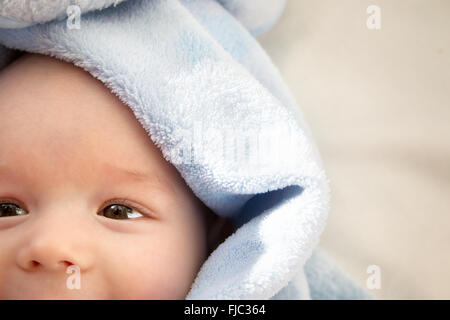 three month old baby wrapped in blue blanket - Stock Photo