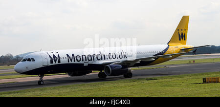 Monarch Airlines Airbus A321-231 G-OZBG Airliner Taxiing on Arrival at Manchester International Airport England - Stock Photo