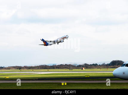 Jet2 Airlines Boeing 737-86Q NG Airliner G-GDFZ Taking Off from Manchester International Airport England United - Stock Photo