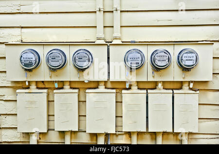Electric Meters On Old House - Stock Photo