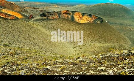 Spain Lanzarote Timanfaya National Park Volcanic Landscape - Stock Photo