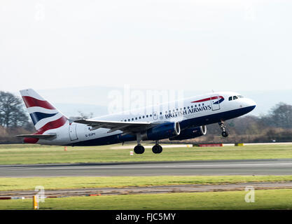 British Airways Airbus A319-131 Airliner G-EUPY Taking Off From Manchester International Airport England United - Stock Photo