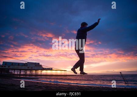Aberystwyth, Wales, UK. 1st March, 2016.  UK Weather: Sunset in Aberystwyth on Saint Davids Day   :After a grey - Stock Photo