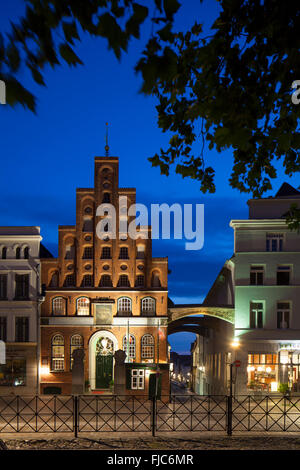 House of the Schiffergesellschaft, now restaurant at night, Lübeck, Schleswig-Holstein, Germany - Stock Photo