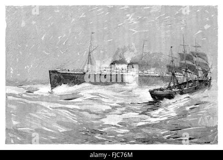 Black and white engraving of the White Star Line steamer S.S. Majestic passing a three mast sailing ship at sea. - Stock Photo