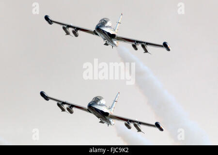 Frecce Tricolori, Italian Air Force Display Team, Aermacchi MB-339PAN. - Stock Photo