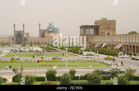 Imam Square (Shah Square) with Imam Mosque and Ali Qapu Palace, Isfahan, Iran - Stock Photo