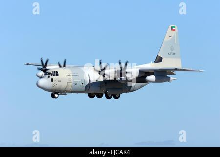 Kuwait Air Force Lockheed Martin KC-130J Hercules (L-382G) [KAF326] landing runway 31. - Stock Photo