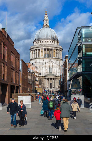 St Paul's Cathedral from Peter's Hill, London, England, UK - Stock Photo