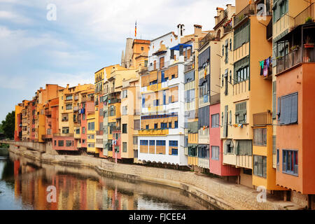 Picturesque buildings along the river in Girona. Catalonia, Spain. - Stock Photo