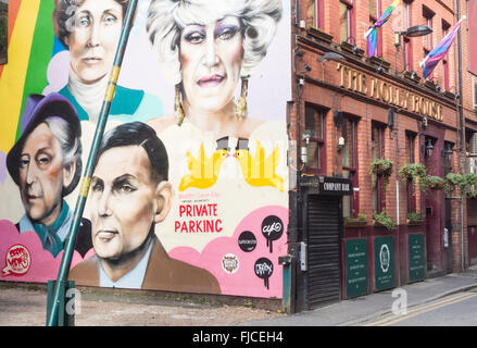 Wall mural on The Molly House tea room and bar on Richmond street in Manchester`s Gay village. Manchester, England, - Stock Photo