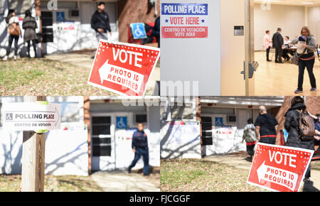 Washington, DC, USA. 1st Mar, 2016. This combination photo shows different polling stations in Arlington, Virginia, - Stock Photo