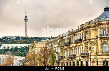 TV tower as seen from the embankment - Baku - Stock Photo