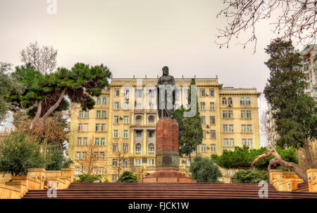 Statue of Nizami Ganjavi in Baku - Stock Photo