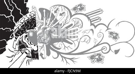An eclectic and dynamic tattoo-like graphic element featuring human organs and graffiti elements. - Stock Photo