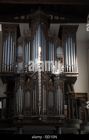 The church Pipe Organ situated in St. Oswald's Church, Durham, England. - Stock Photo