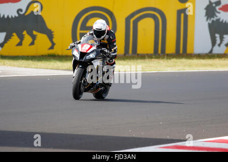 Misano Adriatico, Italy - June 21, 2015: Kawasaki ZX-10R of Clasitaly Team, driven by CAVALLI Francesco - Stock Photo