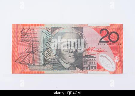 Australian Currency Twenty Dollar Banknote - Stock Photo
