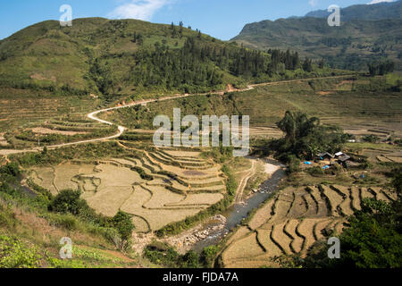 Terraced rice paddies in Ban Den, Sapa District, Vietnam - Stock Photo