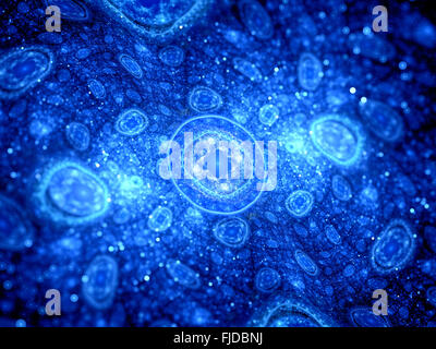 Blue glowing cells fractal, computer generated abstract background - Stock Photo