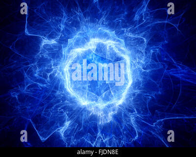 Blue glowing round shape energy field, computer generated abstract background - Stock Photo
