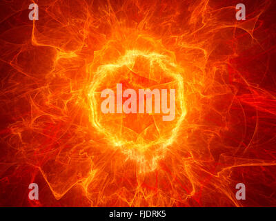 Fiery torus shaped plasma power field, computer generated abstract background - Stock Photo