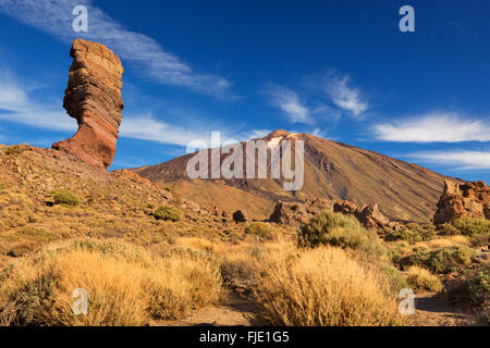 Rock formations at Roques de Garcia in the Teide National Park on Tenerife, Canary Islands, Spain. Photographed - Stock Photo