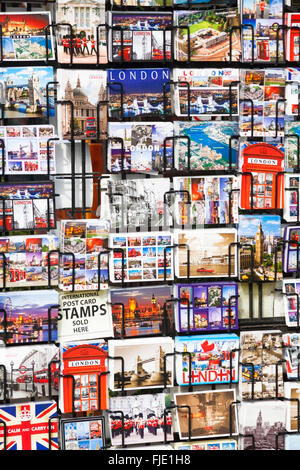 Postcards London souvenirs for sale at Camden Town, London - Stock Photo