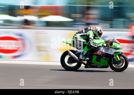 Misano Adriatico, Italy - June 21, 2015: Kawasaki ZX-10R of Team Pedercini, driven by STARING Bryan - Stock Photo