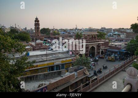 The Ghanta Ghar or Clock Tower of Jodhpur, Rajasthan, India - Stock Photo