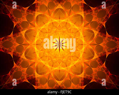 Fiery glowing mandala in space, computer generated abstract background - Stock Photo