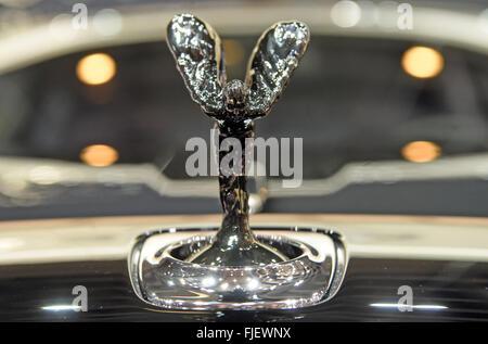 Geneva, Switzerland. 02nd Mar, 2016. The Rolls-Royce hood ornament 'Spirit of Ecstasy' at the Geneva International - Stock Photo